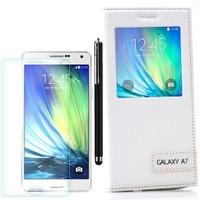 Cep Market Samsung Galaxy A7 Kılıf Pencereli Safir +Kalem+Cam
