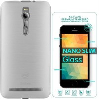 Exclusive Phone Case Asus Zenfone 2 Kılıf 0.2 Silikon Şeffaf+Tempered Glass