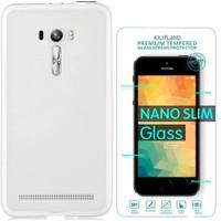 Exclusive Phone Case Asus Zenfone 2 Laser (5.5'') Ze550kl Kılıf 0.2 Silikon Şeffaf+Tempered Glass