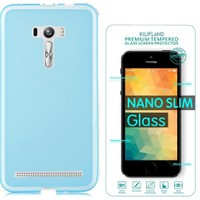 Exclusive Phone Case Asus Zenfone Selfie Zd551kl Kılıf 0.2 Silikon Mavi+Tempered Glass