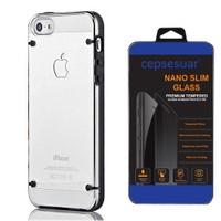 Cepsesuar Apple İphone 5 - 5S Kılıf Silikon 4 Noktalı Siyah + Cam