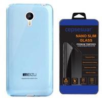 Cepsesuar Meizu M1 Note Kılıf Silikon 0.2 Mm Mavi + Cam