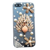 Resonare Apple iPhone 5 Taşli Pembe Tavus Kuşu - Lady-Line - Şeffaf Kapak