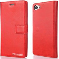 CoverZone Sony Xperia M5 Kılıf Kapaklı Flip Trend Deri Mıknatıslı Kırmızı