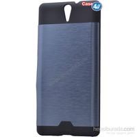 Case 4U Sony Xperia C5 Ultra Moto Sert Arka Kapak Mavi