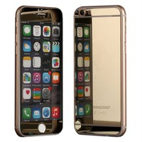 Microsonic İphone 6S Plus Mirror Temperli Cam Ekran Koruyucu Ön + Arka Gold