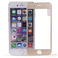 Case 4U Apple İphone 6S Plus Titanyum Metal Kenarlı Cam Ekran Koruyucu-Altın