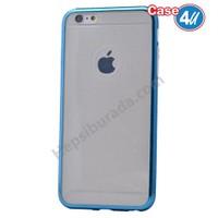 Case 4U Apple İphone 6S Simli Silikon Kılıf Mavi