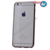 Case 4U Apple İphone 6S Plus Simli Silikon Kılıf Siyah