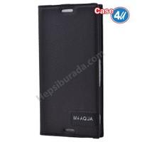 Case 4U Sony Xperia M4 Aqua Gizli Mıknatıslı Kapaklı Kılıf Siyah