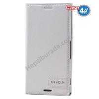 Case 4U Sony Xperia M4 Aqua Gizli Mıknatıslı Kapaklı Kılıf Beyaz