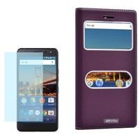 Cep Market General Mobile Gm5 Plus Kılıf Çift Pencere Dolce + Cam