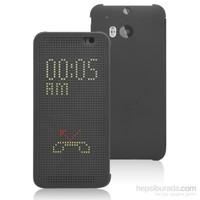 Microsonic View Cover Dot Delux Kapaklı Htc One M8s Kılıf Akıllı Modlu Gri