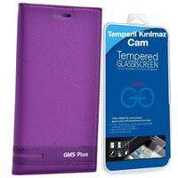 Teleplus General Mobile Gm 5 Plus Kapaklı Kılıf Mor + Cam Ekran Koruyucu