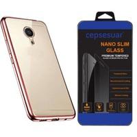 Cepsesuar General Mobile Gm 5 Plus Kılıf Silikon Lazer Rose Gold + Cam