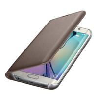 Microsonic Flip Leather Samsung Galaxy S6 Edge Kapaklı Deri Kılıf Gold