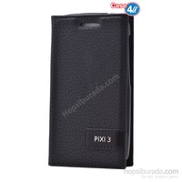 Case 4U Alcatel Pixi 3 Gizli Mıknatıslı Kapaklı Kılıf Siyah