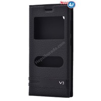 Case 4U Vestel Venus V3 5570 Pencereli Kapaklı Kılıf Siyah