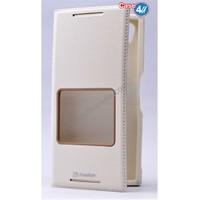 Case 4U Sony Xperia Z5 Premium Pencereli Kapaklı Kılıf Beyaz