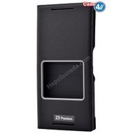 Case 4U Sony Xperia Z5 Premium Pencereli Kapaklı Kılıf Siyah