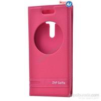 Case 4U Asus Zenfone Selfie Pencereli Kapaklı Kılıf Pembe