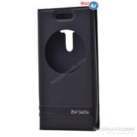 Case 4U Asus Zenfone Selfie Pencereli Kapaklı Kılıf Siyah