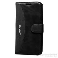 Cep Market Nokia Lumia 735 Kılıf Standlı Cüzdan - Siyah