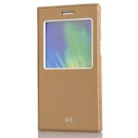 CoverZone Samsung Galaxy A5 Kılıf Delüx Pencereli Deri Dore