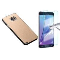 Kılıfshop Samsung Galaxy Note 5 Metal Kılıf Gold + Ekran Koruyucu