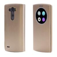 Microsonic View Cover Delux Kapaklı Lg G3 Kılıf Akıllı Uyku Modlu Sarı
