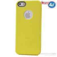 Case 4U Apple İphone 5S Çizgili Silikon Kılıf Sarı