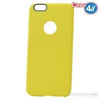 Case 4U Apple İphone 6 Çizgili Silikon Kılıf Sarı