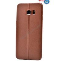Case 4U Samsung Galaxy S6 Edge Parlak Desenli Silikon Kılıf Kahverengi