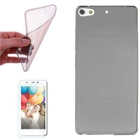 Cep Market General Mobile Discovery Elit Plus Kılıf 0.2Mm Antrasit Silikon + Cam
