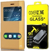 CoverZone Huawei P9 Lite Kılıf Elite Pencereli Standlı Gold + Cam