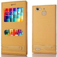 Huawei Gr3 Kılıf Çift Pencereli Elite Deri Gold