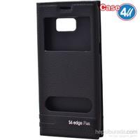 Case 4U Samsung Galaxy S6 Edge Plus Pencereli Kapaklı Kılıf Siyah