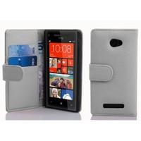 Microsonic Cüzdanlı Deri Htc Windows Phone 8X Kılıf Beyaz