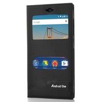 KılıfShop General Mobile 4G Android One Pencereli Magnum Kılıf (Siyah)