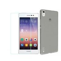 KılıfShop Huawei Ascend P7 0,2Mm Silikon Kılıf (Füme) + Ekran Koruyucu