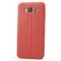 KılıfShop Samsung Galaxy J7 Silikon Kılıf Dikiş Desenli (Kırmızı)