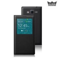 CaseCrown Samsung J5 Pencereli Flip Cover Siyah Kılıf