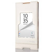 CoverZone Sony Xperia Z5 Premium Kılıf Pencereli Magnum Beyaz