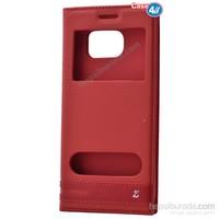 Case 4U Samsung Galaxy S7 Edge Pencereli Kapaklı Kılıf Kırmızı