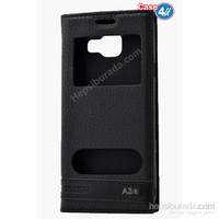 Case 4U Samsung A310 Galaxy A3 Pencereli Kapaklı Kılıf Siyah