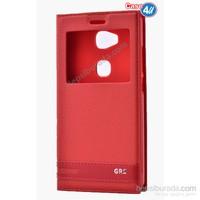 Case 4U Huawei Gr5 Pencereli Kapaklı Kılıf Kırmızı