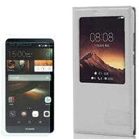 Cep Market Huawei Ascend Mate 7 Kılıf Pencereli Deri Safir + Cam