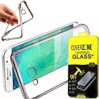 Coverzone Samsung Galaxy E7 Kılıf Silikon Kenarı Renkli Transparan + Cam