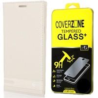 Coverzone Samsung Galaxy A5 Kılıf 2016 A510 Kapaklı Deri Elite + Cam