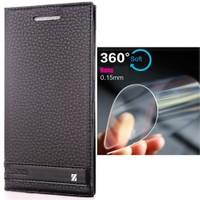 Coverzone Vodafone Smart Style 7 Kılıf Elite Deri Kapaklı + Nano Cam Koruyucu